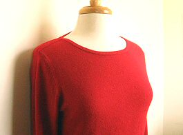 red sweater before refashion