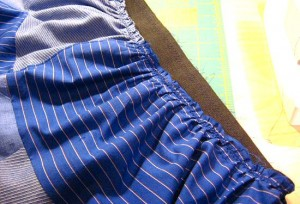 waistband gathered and stitched to the elastic