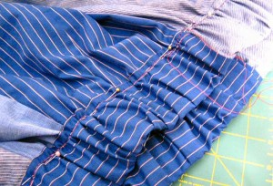 waistband gathered and pinned and waiting to be sewn