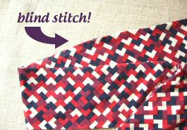 hole closed with blind stitch