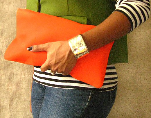 bright orange envelope clutch