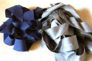 bias strips of silver silk dupioni and navy blue linen