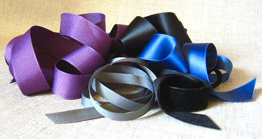 satin, grosgrain, and velvet ribbon