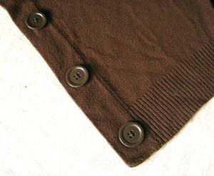 tragic brown cardigan: hideous original buttons