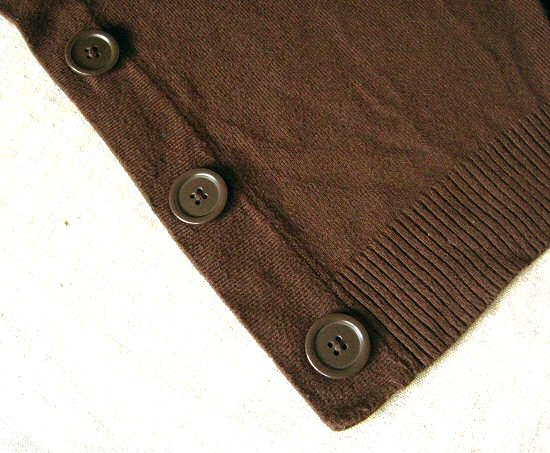 tragic brown cardigan: hideous original buttons