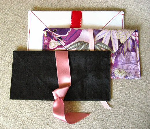 finished fabric envelopes in three fabrics