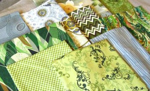green and gray fabrics