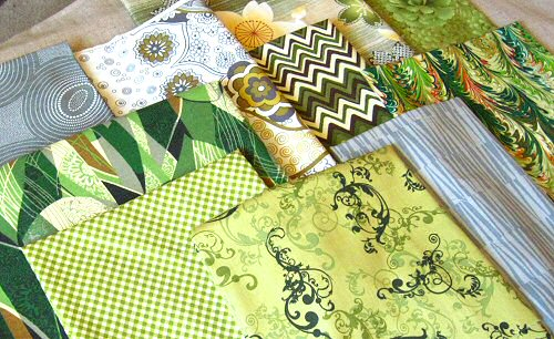 green and gray fabrics