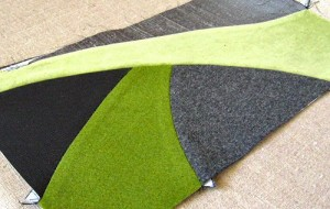 patchwork envelope clutch in progress, for Holland Cox spring 2012
