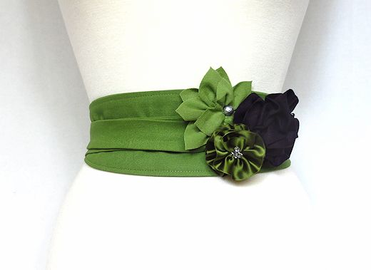 fabric flowers on an obi belt