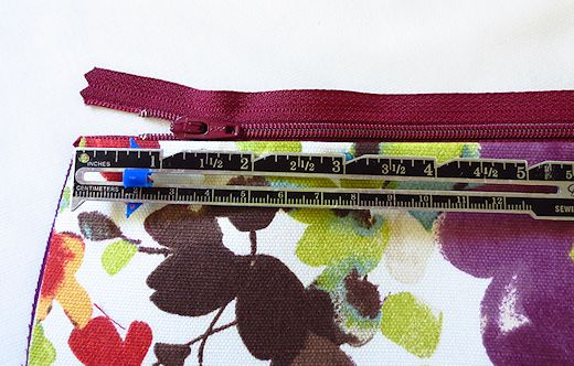 pin the zipper in between the two layers