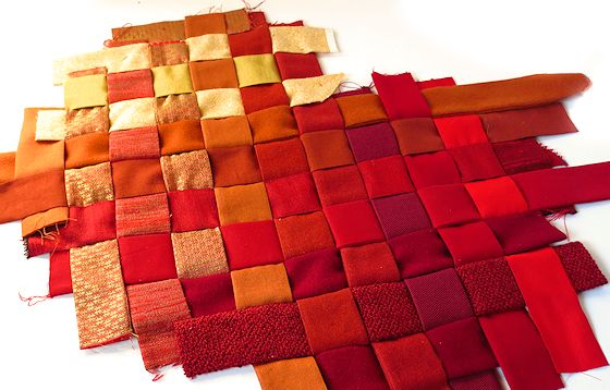 custom woven fabric in red and orange