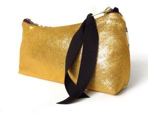 gold leather zip pouch