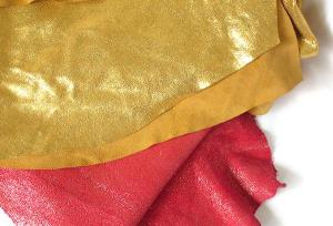 gold and hot pink metallic leather