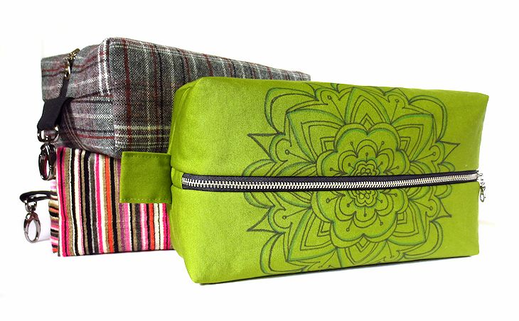 fabric dopp kits with vintage, upcycled, and hand drawn fabric