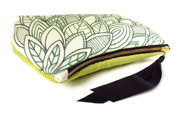 zip pouch with hand drawn details and velveteen