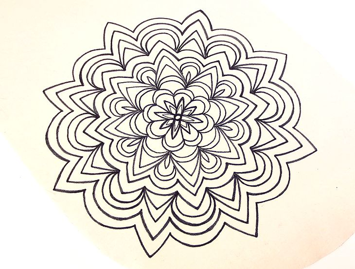 hand drawn mandala, black ink on off white cotton