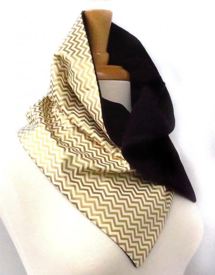 black and gold chevron button scarf