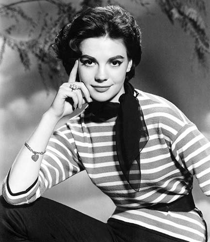 Natalie Wood wearing stripes