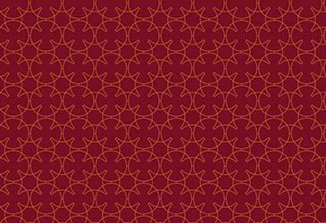 star pattern in orange on red