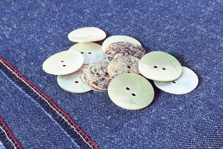 shell buttons destined for Holland Cox button scarves