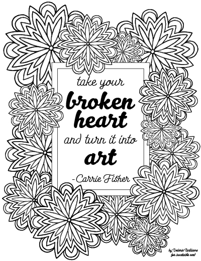 carrie fisher quote mandala coloring page. Black Bedroom Furniture Sets. Home Design Ideas