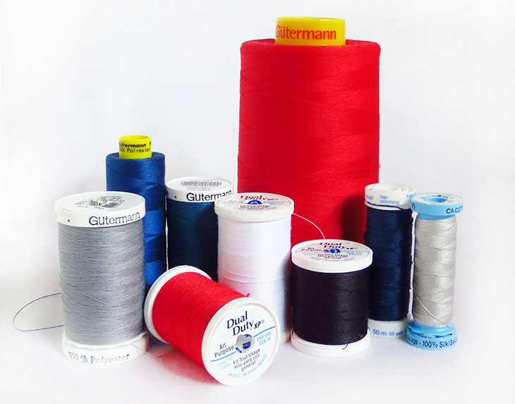an assortment of common types and brands of thread