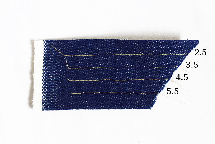 a sample of straight stitches of different length