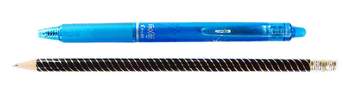 erasable pen and regular pencil as sewing tools