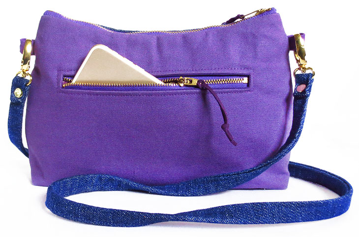 the back pocket of the crossbody pouch