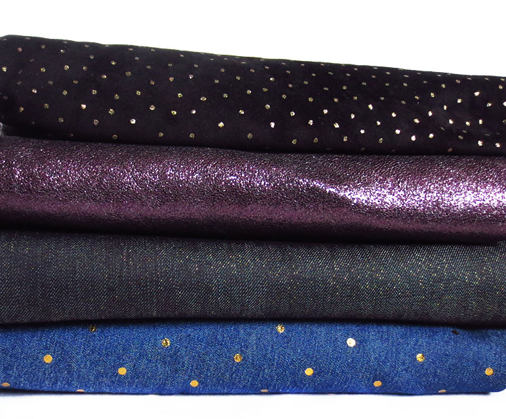 denim with gold accents, purple metallic leather, gold polka dot suede and metallic denim