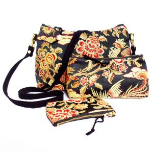 the crossbody bag, small perfect pouch and mini pouch