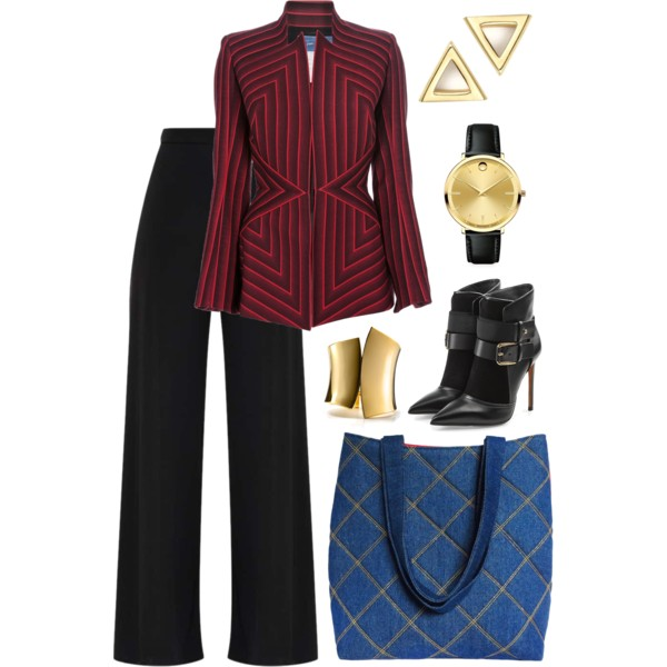 the anjelica tote from Holland Cox with a striped blazer
