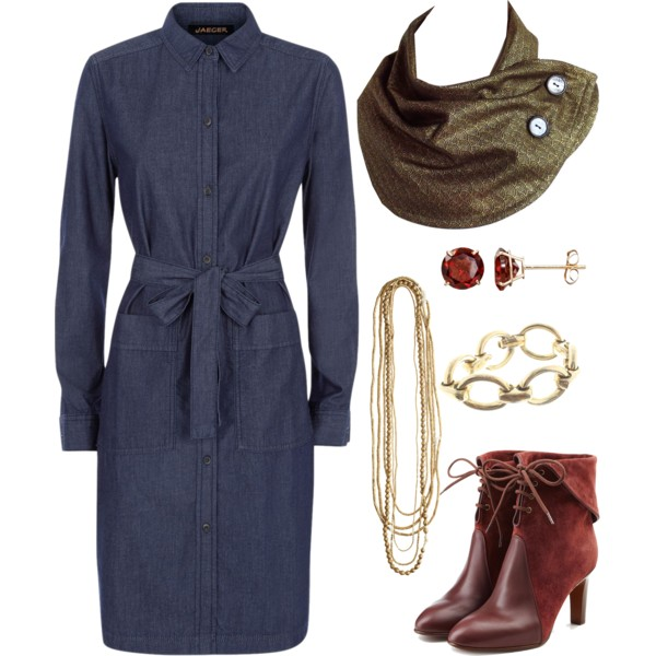 Holland Cox button scarf with a denim dress