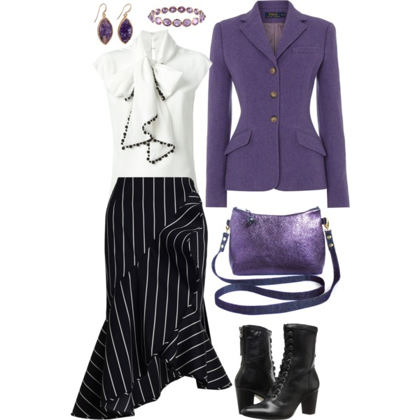 the raina crossbody bag from Holland Cox with a ultraviolet blazer