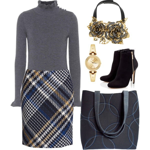 the sofia tote from Holland Cox with a plaid skirt