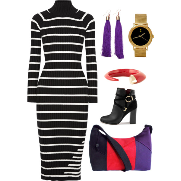 the trinity bag from Holland Cox with a striped dress