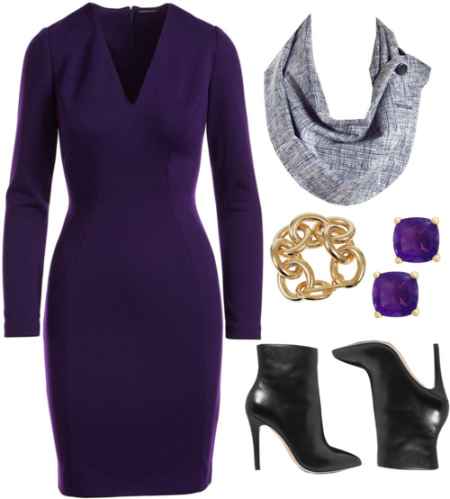 the aida button scarf from Holland Cox with a purple dress