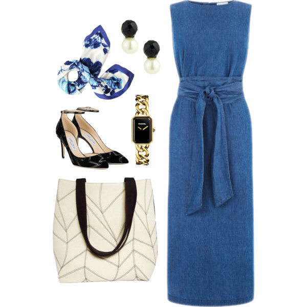 the cassandra tote from Holland Cox with a denim dress