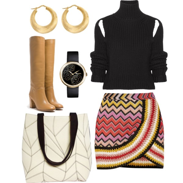 the cassandra tote from Holland Cox with a chevron skirt