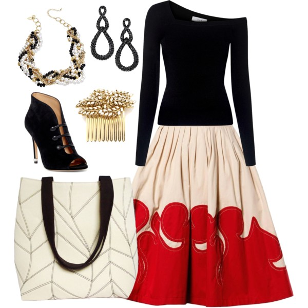 the cassandra tote with a circle skirt and black sweater