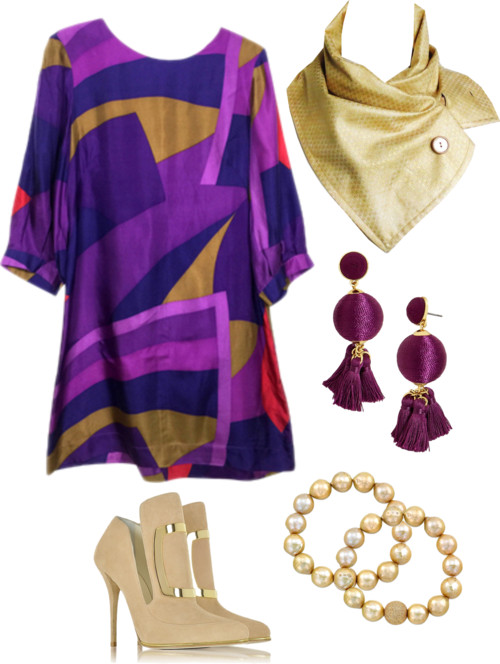 bold purple print dress with a gold button scarf from Holland Cox