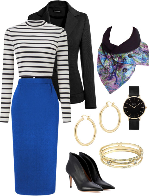 the natalie scarf from Holland Cox with a stripey sweater and royal blue pencil skirt