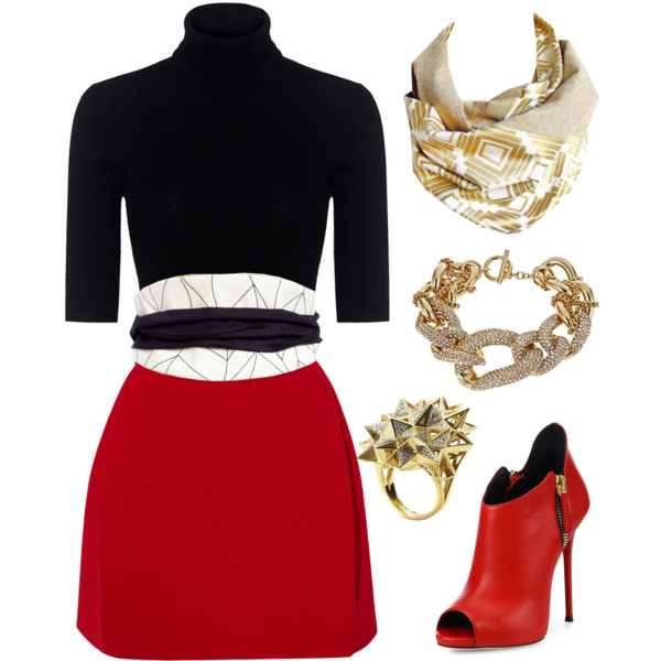 the cassandra belt from Holland Cox with a sweater and mini skirt