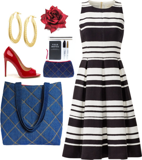 denim 517 tote from Holland Cox with striped sun dress