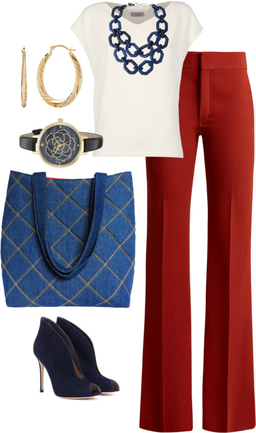 the anjelica tote from Holland Cox with tailored red trousers