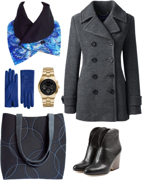 blue book marble button scarf with a gray pea coat and a black 517 tote from Holland Cox