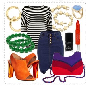 denim skirt, striped top, and mult-colored accessories
