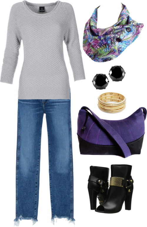 purple book marble button scarf with a gray sweater and jeans