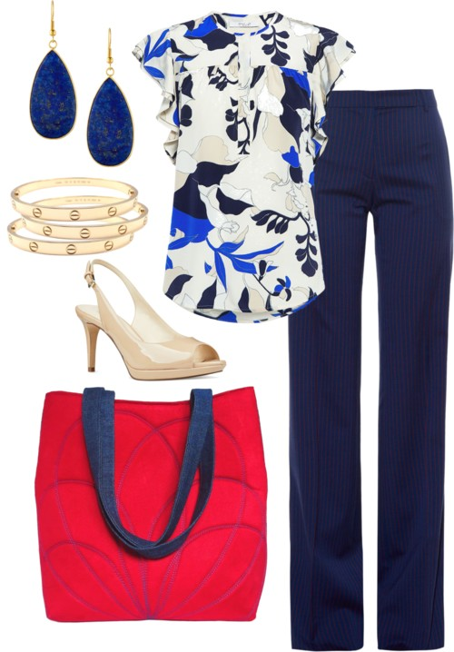 the persephone tote with navy trousers and a printed blouse